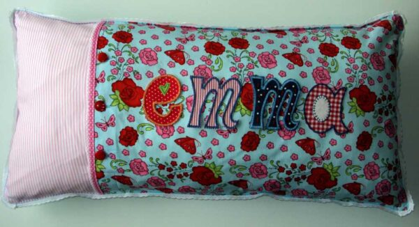 Name deco cushions as name deco gifts for birth, baptism or christmas.