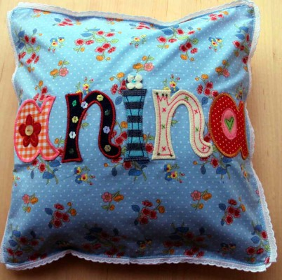 Iron-on letters personalize name gifts like name cushions.