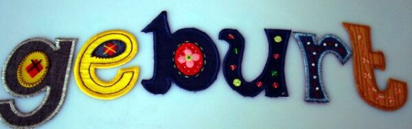Geschenk zur Geburt, zum Geburtstag bügelbare Buchstaben