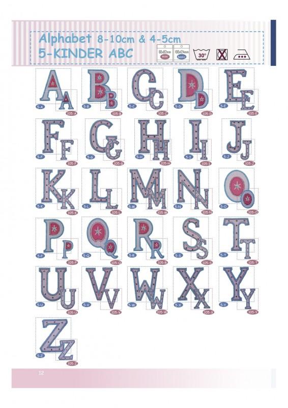 Kinder ABC Gross-Buchstaben Aufbügler einfach Stoff aufbügeln