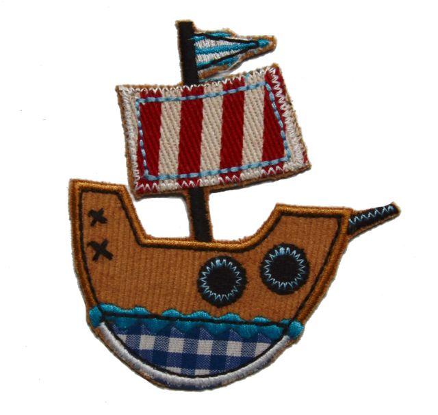 Piraten Schiff Aufbügler Aufnäher flicken Löcher in Kinder Kleider Jeans
