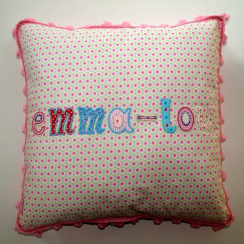 Lovely children name cushion made with iron on letters