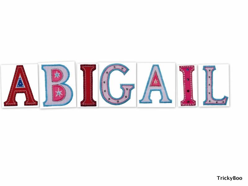 Buchstaben ABC Alphabete aufbügeln für Namen Geschenke