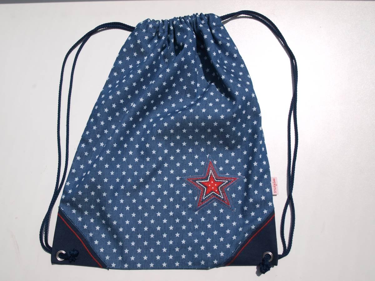 Kindergarten Turntasche wasserfester Boden blau roter Stern TrickyBoo