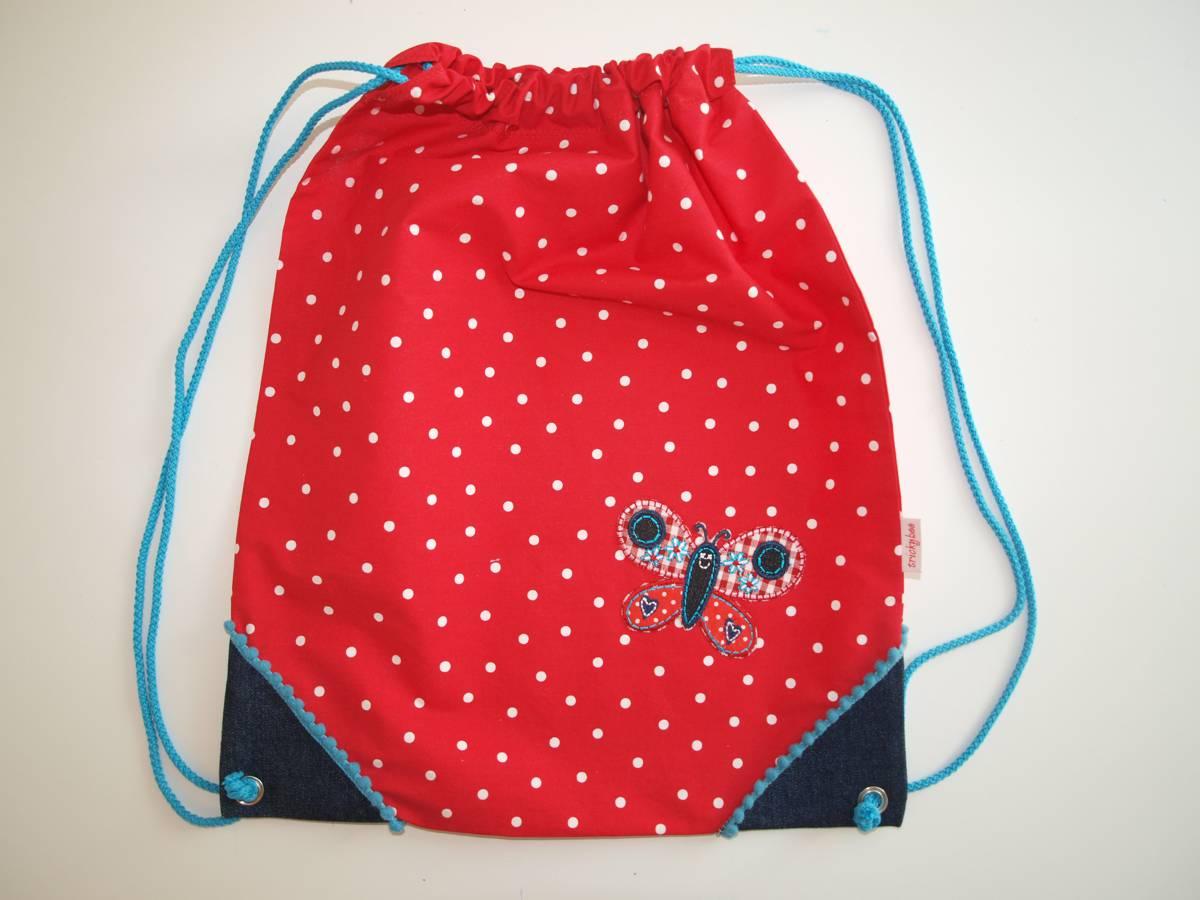 Kindergarten Turnsack rot blau Applique TrickyBoo