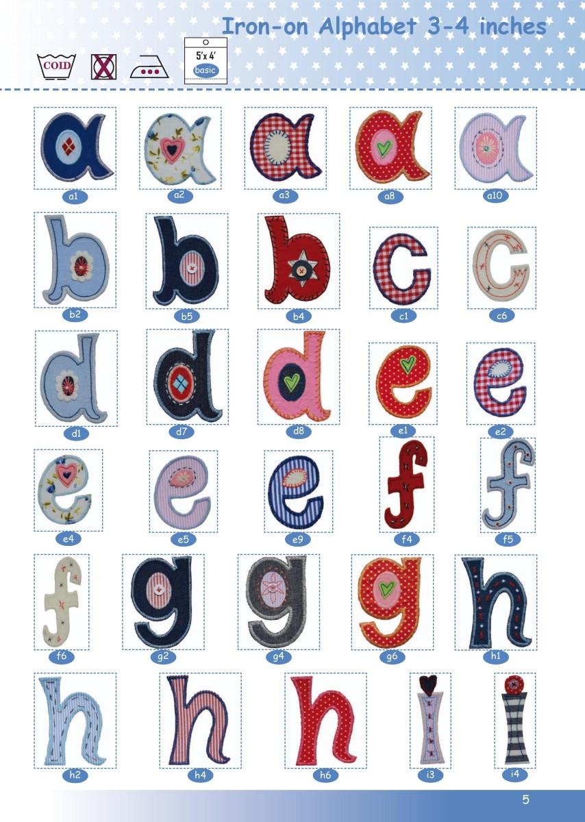 Alphabet Aufbuegler kleinbuchstaben 8-10cm a-i