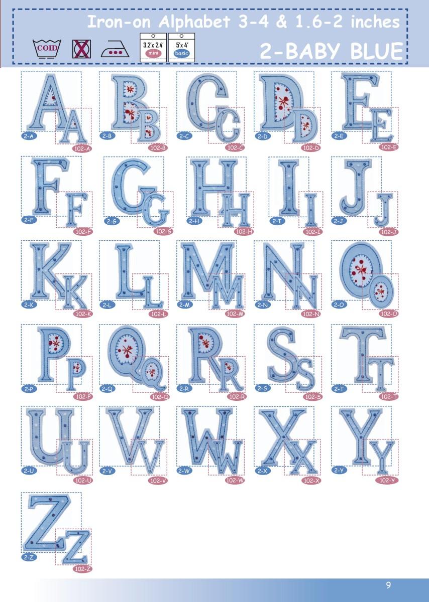 GROSSBUCHSTABEN ABC Baby blau 4-5cm oder 8-10cm