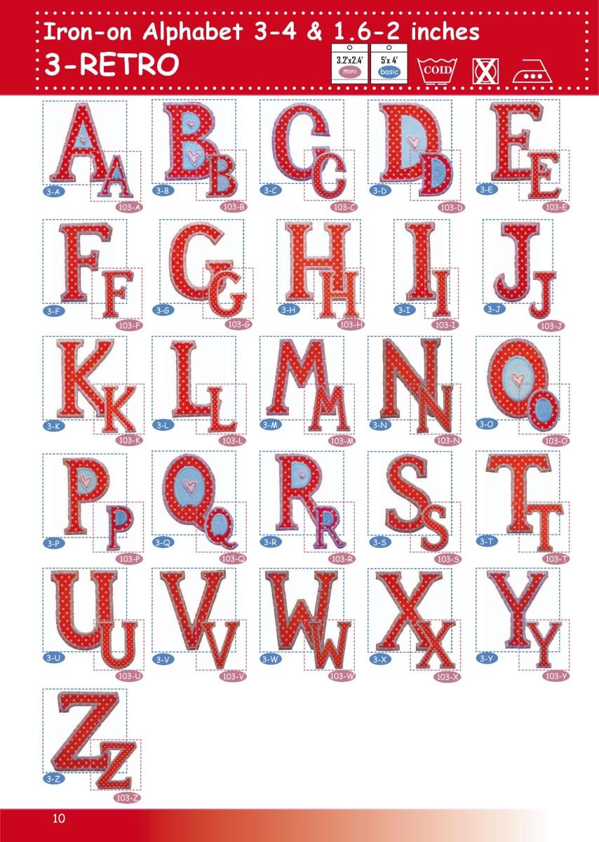 Alphabet GROSSBUCHSTABEN rot gepunktet hellblau 4-5cm oder 8-10cm