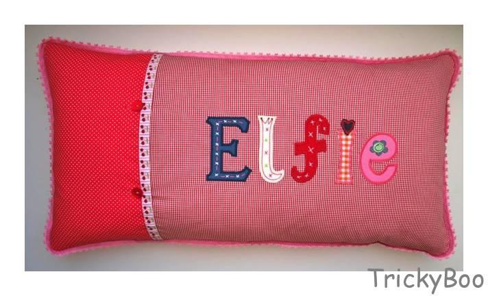 Namen Kinder Kissen personalisiert Aufbügler Buchstaben